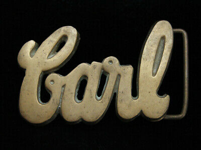 OG13115 VINTAGE 1970s CUT-OUT NAME **CARL** SOLID BRASS BARON BELT BUCKLE