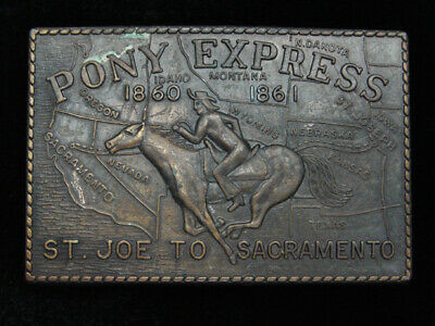QG23133 VINTAGE 1970s **PONY EXPRESS ST. JOE TO SACRAMENTO** OLD WEST BUCKLE