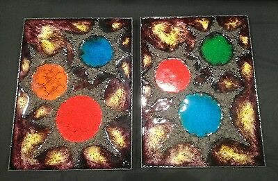 FAB !! MID CENTURY UNIQUE PAIR of FAT LAVA West German Artist Sgnd Wall Plaques