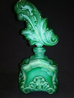 RARE Czech Art Deco Malachite  1930s Opaque INGRID Glass Line Perfume Bottle