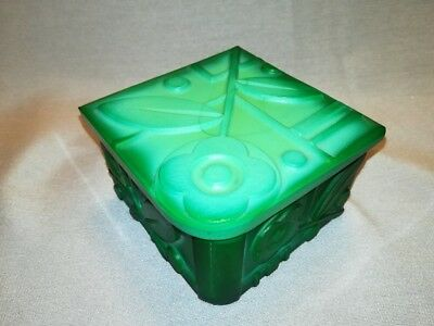 RARE 30s Malachite Czechoslovakian Art Deco Ingrid Glass Line Box