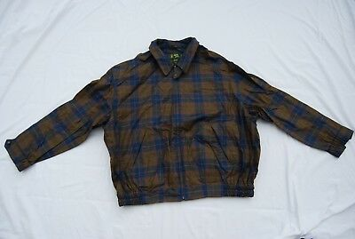 Shades of Brown Gray Orange Plaid BOBBY JONES Zip Front Jacket XL