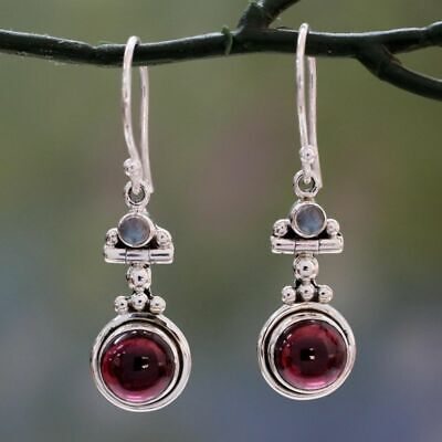 Retro Long 925 Silver Moonstone Red Agate Dangle Hook Earrings Wedding Jewelry