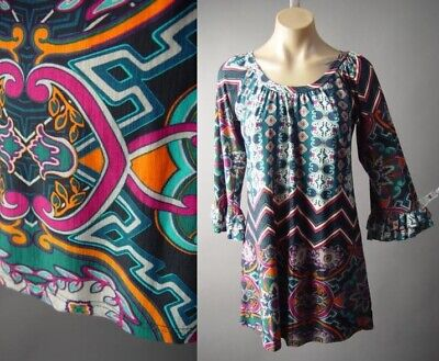 Sale Scarf Print Psychedelic 60s 70s Hippie Top Blouse 296 mvp Tunic S M L XL