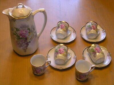 Antique Art Nouveau Demitasse Set Chocolate Set Pot Teapot 6 Cups 4 Saucers