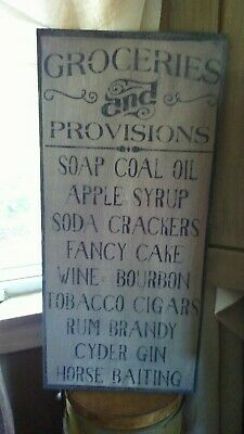 Primitive Wooden Sign ~ Grocery and Provisions Tavern Sign ~ Awesome ~ Huge!!