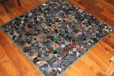 """Very Rare Antique 19th Century Victorian Hand Made Silk Patch Quilt 66"""" x 66"""""""