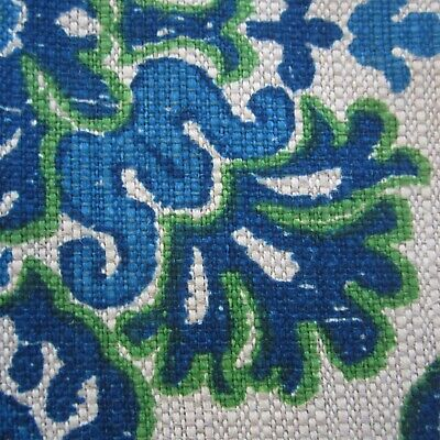 Vintage Linen Upholstery Fabric Tapestry Look Blue Green Bloomcraft 50cm x 142cm