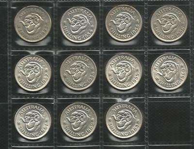 1953 To 1963 Shilling - Complete Set - Queen Elizabeth Ii -11 Coins -Ef To Unc