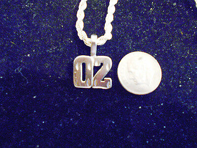 bling silver plated fashion number 02 pendant charm hip hop necklace jewelry ep
