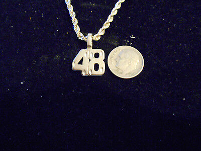 bling SILVER plated fashion jewelry number 48 pendant charm hip hop necklace GUN