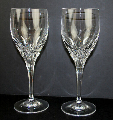 Gorham Diamond Clear Pair of Wine Stem Glasses Full Lead Crystal Pulled Base