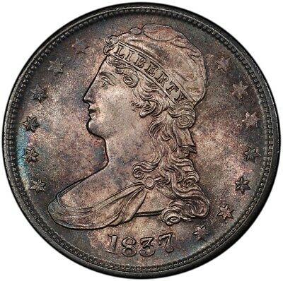 "1837 50C Reeded Edge Capped Bust Half Dollar ""50 CENTS"" on Rev PCGS MS64"