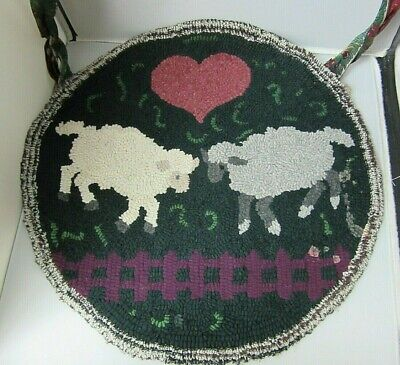 Antique Round Chair Seat Cover Hook Rug Embroidery Hand Made w/ Lamb & Heart
