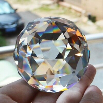 Clear Cut Crystal Sphere Faceted Gazing Ball Prisms Suncatcher Home Decor
