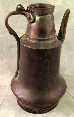 Antique Primitive Copper Coffee Pot Tea Kettle Middle Eastern Engraved Handle