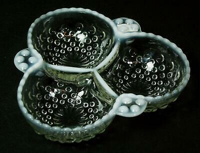 Vintage Anchor Hocking Moonstone Hobnail  Divided Candy Relish Dish 1940s