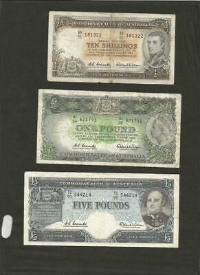 1960 To 1961 Coombs/wilson Set - *reserve Bank * - 3 Notes - Circulated