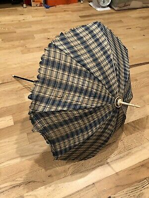 Beautiful Antique 1850's Gingham Cotton Carriage Parasol w/ Carved Handle & Top