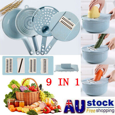 9 IN 1 Multi-function EASY FOOD CHOPPER Food Cutter Peeler Vegetable Slicer AU