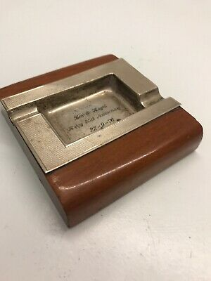 Retro 1959 Poston Products Ltd Birmingham Sterling Silver Ash Tray (engraved)