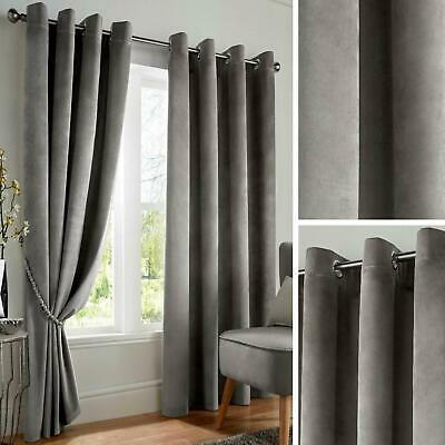 Grey Blackout Curtains Velvet Thermal Eyelet Ready Made Ring Top Curtain Pairs