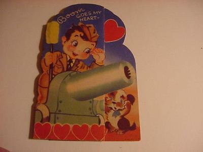 Vintage 1940s-WWII-VALENTINE: Dark-Haired ARMY Boy Firing Cannon, Dog Plugs Ears
