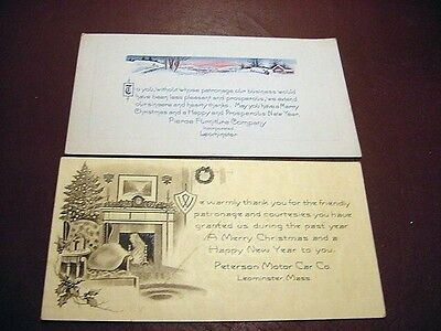 Lot of 2 ART DECO CHRISTMAS Advertising Cards-LEOMINSTER,MA-Pierce Furniture+1