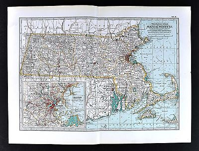 1898 Century Atlas Map - Massachusetts - Boston Cape Cod Plymouth Cambridge Lynn