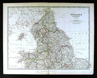 1883 Johnston Royal Atlas Map North England & Wales Liverpool York Lincoln Man