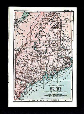 1900 Mathews-Northrup Handy Map of Maine  Augusta Bangor Portland Lewiston Paris