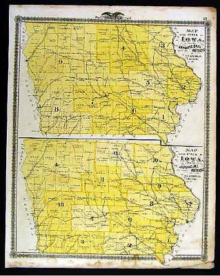 1875 Iowa Map - Congressional Districts - Atlantic View