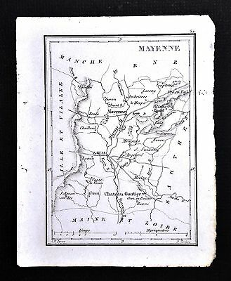 1833 Perrot Tardieu Map - Mayenne - Chateau Gontier laval Meslay - France