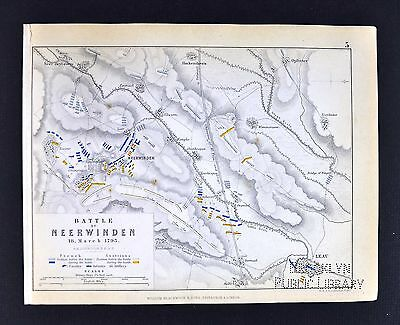 1850 Johnston Military Map - Battle of Neerwinden 1793 - Leau Belgium - Napoleon
