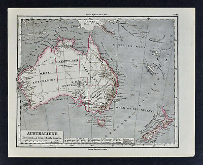 Map Of Adelaide Australia.1880 Sydow Map Australia New Zealand Sydney Melbourne Adelaide Alexandra Land