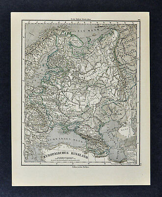 1880 Sydow Physical Map - Russia in Europe Moscow St. Petersburg Ural Mountains
