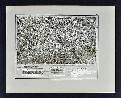 1880 Sydow Map South Germany Bergland Bavaria Austria Alps Vienna Munich Europe