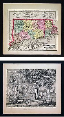 1857 Morse x 2 - Map & Print - Connecticut Rhode Island & View of Yale College