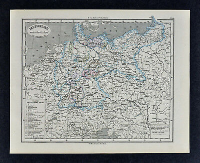1880 Sydow Maps x 2 - Political & Physical - Germany Austria Switzerland Europe