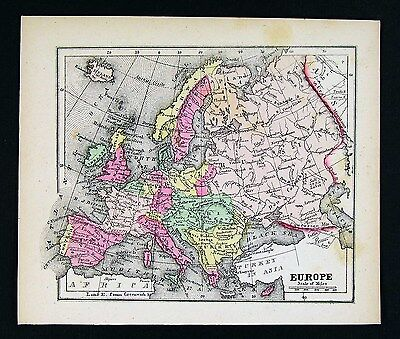 1857 Morse Map - Europe - Spain France Italy Germany Britain Russia Austria