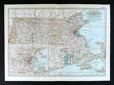 1902 Century Atlas Map - Massachusetts - Boston Cape Cod Plymouth Cambridge Lynn