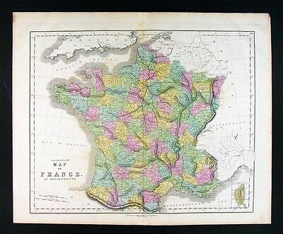 1859 Gall & Inglis Map - France in Departments Paris Marsailles Bolgone Riviera