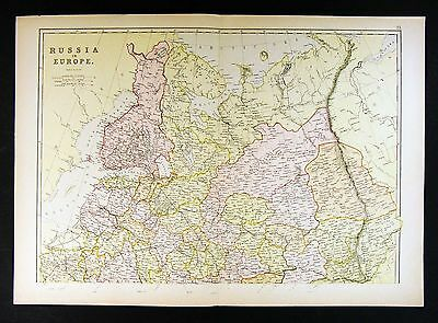 1882 Blackie Map - Russia - Europe Finland Moscow St. Petersburg Helsinki Latvia
