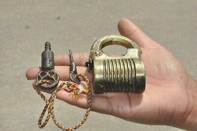 Old Brass Handcrafted Solid Heavy 2 Key Tricky Screw System Padlock