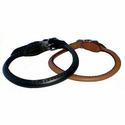 OFFER Koko Rolled Leather Dog Collar / Lead  - Black or Brown Sizes 12 - 26 inch