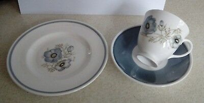 Wedgewood Susie Cooper bone china trio - Glen Mist - teacup, saucer and plate