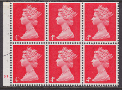 1967/70 MACHIN DEFINITIVE (SG733) 4d BOOKLET PANE WITH CYL NUMBER N1 DOT U/MINT