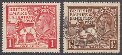 1924 Kgv British Empire Exhibition Wembley Set Of 2 Fine Used