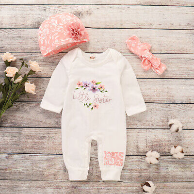 f99bb51e7 Baby Girls Jumpsuit+Hat Infant Kids 2Pcs Playsuit Tracksuit Outfits Clothes  Set