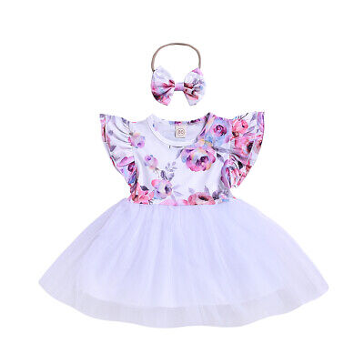 Baby Girl Summer Dress+Rubber Band Floral Tutu Sundress 2Pcs Clothes Outfits Set
